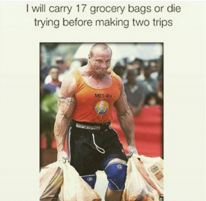carrying 17 grocery bags